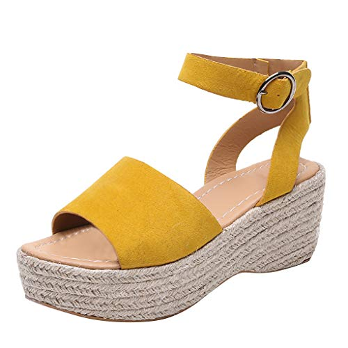 2019 Summer Fashion Women's High Wedge Roman Sandals Casual Solid Color Open Toe Ankle Ceiling Platform Beach Shoes (Yellow, 9 M US)