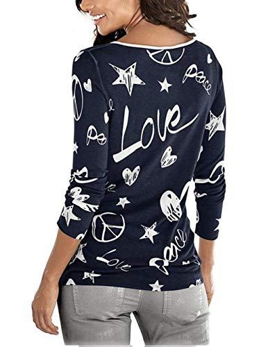 Rond Marine Femme Mode Impression Mode Elgante breal Motif Casual Col Chemisier Jeune Automne Hiver Haut Coeur Shirts Manches De Longues Strass Chemise Iq16wq