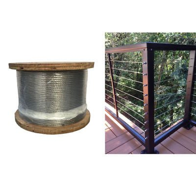 """1000 FT Grade 316 STAINLESS STEEL 3/16"""" 1x19 Cable Rail Railing Wire"""
