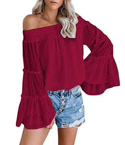 EasySmile Womens Off The Shoulder Tops Summer Blouses Casual Chiffon Bell Sleeve Ruffle Tunic Shirts (Red, US(8-10) Medium)