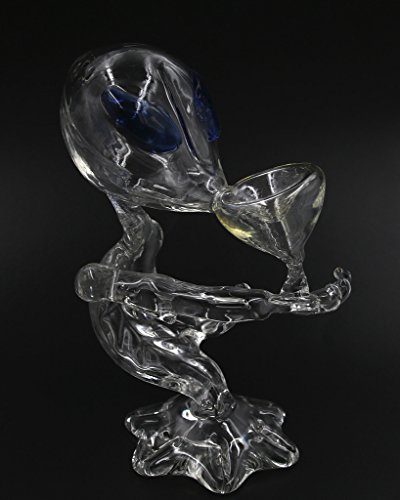 MFHX Handcrafted Stained Glass Art Item, Alien Hookah Smoking Bottle, Home Decar Piece, color of Clear/Transparent, 155mm/6.1 inches Height
