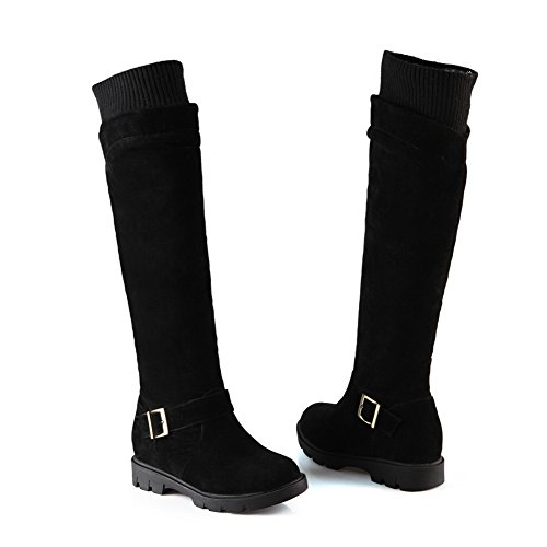 Elasticity Girls AdeeSu Platform Neck Buckle Black Frosted Boots a7wwdtH