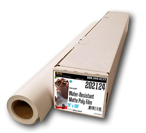 "ValuJet Aqueous Water-Resistant Matte Film, Poly Film Roll, Banner Roll, Blank Banner (24"" x 100"