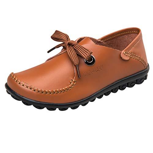 LONGDAY ❤ Women Sneaker Mary Jane Flat Comfort Walking Flat Loafer Lace Up Ballet Flat Ladies Casual Shoe Faux Leather Orange