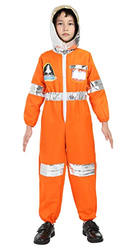 Famajia Children's Astronaut Costume Dress up Role Play Set for Kids Boys Girls with a Shiny Helmet Orange Large]()