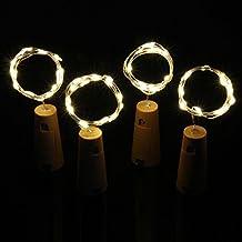 Xcellent Global 4 Pack 29.5 inch 15 LEDs Copper String Light Wine Bottle Cork Light Battery Powered for Bottle DIY, Christmas, Party Decoration, Warm White LD137x4