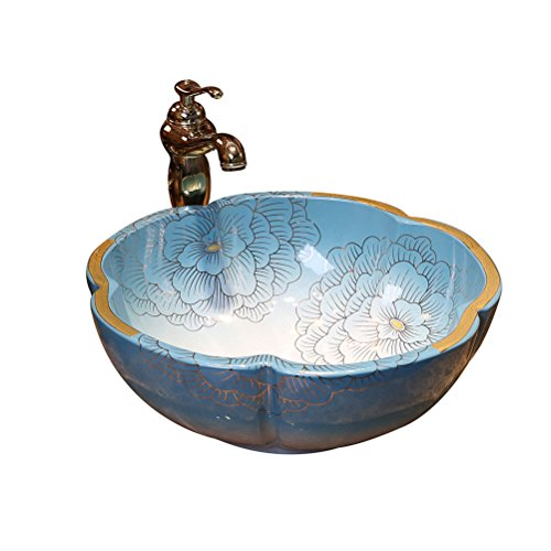 Teng Peng- Bathroom Sink Petal Shaped Above Counter Basin Art Basin Color Gold Ceramic Basin Wash Basin Wash Basin, 40X15cm Modern wash Basin