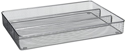 Honey-Can-Do KCH-02154 Steel Mesh 5-Compartment Cutlery Utensil Organizer, (5 Compartment Cutlery Tray)