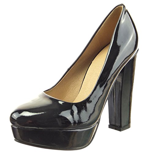 Sopily - Chaussure Mode Escarpin Decolleté Plateforme Cheville femmes Brillant verni Talon haut bloc 12 CM - Noir
