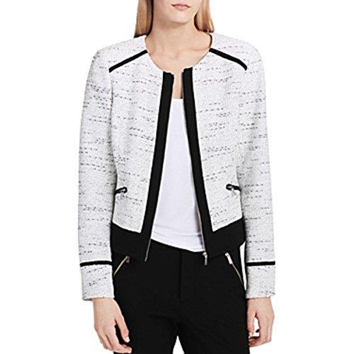 Calvin Klein Women's Center Zip Jacket with Ponte, Black/White Tweed, 14