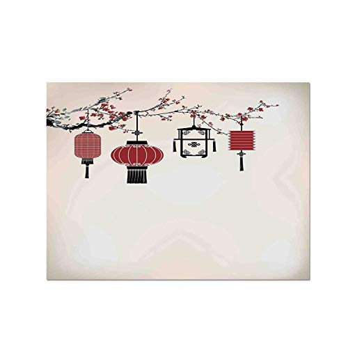 (C COABALLA Lantern Heat Resistant Table Mat,Traditional Lantern on a Floral Tree Decorative Beige Color Creative Graphic Design for Dining,15.7
