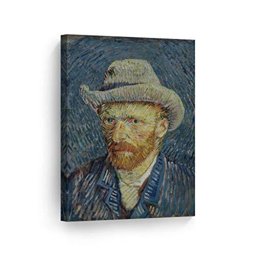 Smile Art Design Vincent Van Gogh Self Portrait with Grey Felt Hat, Winter 1887-88 Canvas Print Decorative Art Wall Decor Artwork Modern Art - Ready to Hang -%100 Handmade in The USA - 12x8 (Vincent Van Gogh Self Portrait With Felt Hat)