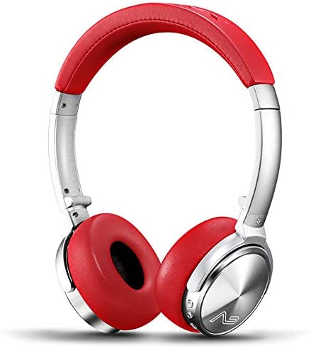 LASMEX HB65 Wireless Bluetooth On-Ear Headphone Earphone with Mic Light Portable Red Color
