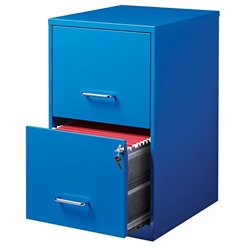 2-Drawer Steel File Blue Storage Cabinet, 18-inch deep by Office Designs
