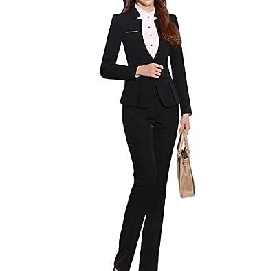 YUNCLOS Women's Elegant Business Two Piece Office Lady Suit Set Work Blazer Pant