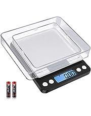 Diyife Finvåg 500 g/0,01 g, brevvåg, fickvåg, hög precision, LCD-display med bakgrundsbelysning, köksvåg med tara-funktion och PCS, med 2 fack och batterier