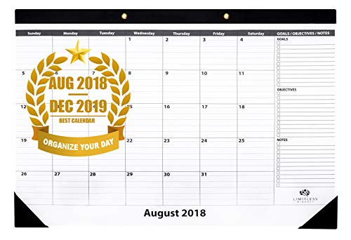 """Monthly Desk Pad Calendar with Gold Grommets, August 2018 - December 2019, 18"""" x 12"""" - by Limitless ()"""