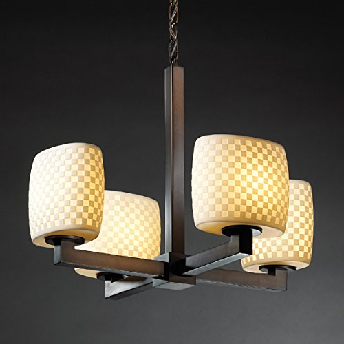 Justice Design Group Limoges 4-Light Chandelier - Dark Bronze Finish with Checkerboard Translucent Porcelain Shade