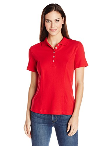 Riders by Lee Indigo Women's Morgan Short Sleeve Polo Shirt, Classic Red, -