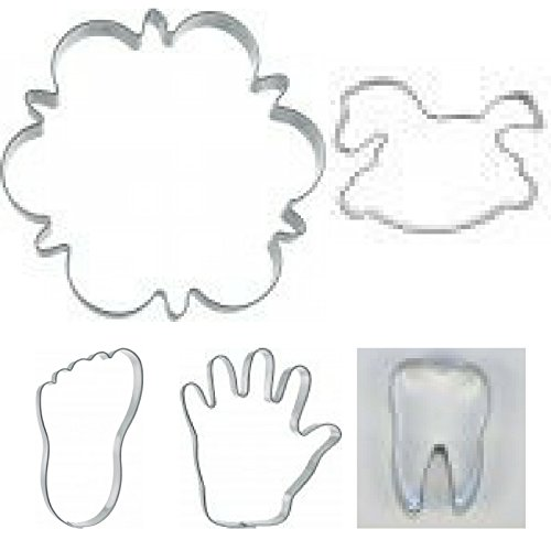 Eco Haus Living Baby Shower Cookie Cutters - 5 pcs Stainless Steel New Born Baby Theme Shaped Biscuit Cutter with Baby Carriage Footprint - Easy to Clean - Ideal For Fruits Fondant Cookie Dough Bread
