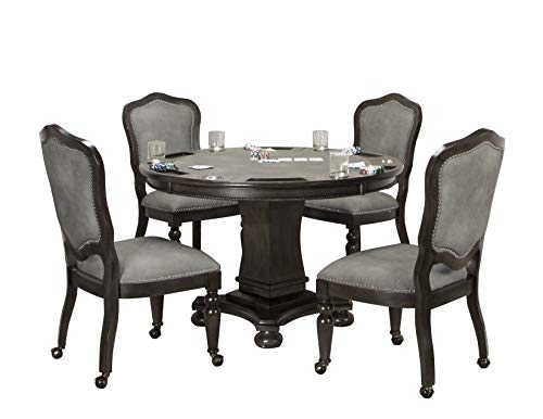 Sunset Trading CR-87711-5PC Vegas Dining/Poker Table Set, 2 in 1 Game, Distressed Gray ()