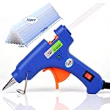 """Upgraded Mini Hot Melt Glue Gun with 50pcs(7.87"""") Glue Sticks,Removable Anti-hot Cover Glue Gun Kit with Flexible Trigger for DIY Small Craft Projects & Sealing and Quick Daily Repairs 20-watt,Blue"""