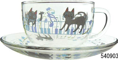Koji Company Neko NYA-go Series Tea Cup and Strainer Thermo Glass for Tea Coffee Black Cat and Music Sheet Piano Made in Japan 540903