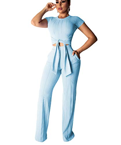 Elegant Set - Ophestin Womens Sexy Two Piece Outfits Short Sleeve Rib Belted Crop Top Wide Leg Pants Set Party Jumpsuits Blue XXL