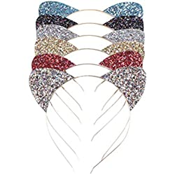Beaupretty Diadema con orejas de gato Diadema para el cabello Diadema con forma de sirena para niña, 6 piezas (color mezclado)