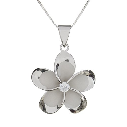 Sterling Silver 15mm Plumeria Rhodium Plated Pendant Necklace (sterling-silver)