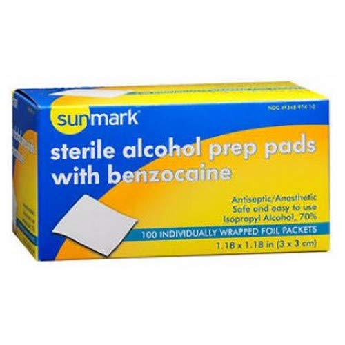 Sunmark Sterile Alcohol Prep Pads, with Benzocaine - 100 pads