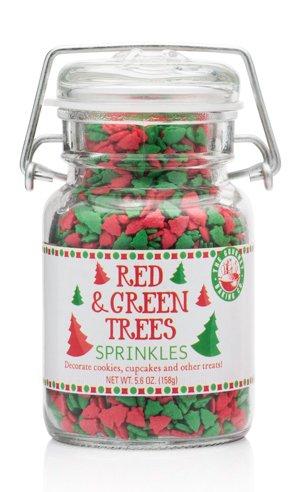 The Gourmet Baking Co Red & Green Christmas Tree Sprinkles 5.6oz Jar