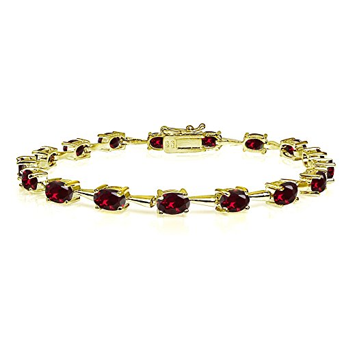 (Yellow Gold Flashed Sterling Silver Created Ruby 6x4mm Oval Classic Link Tennis Bracelet)