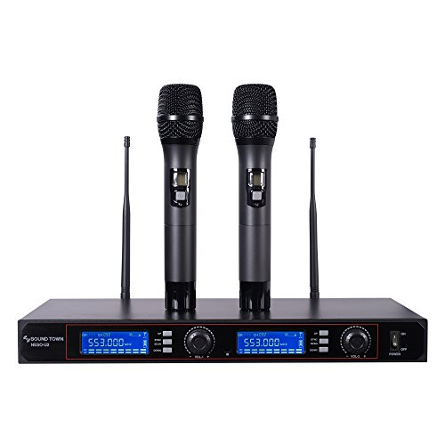 Professional Series Wireless Dual Microphone (Sound Town 200-Channel Rack Mountable Professional UHF Wireless Microphone System with Metal Receiver and 2 Handheld Mics (NESO-U2HH))