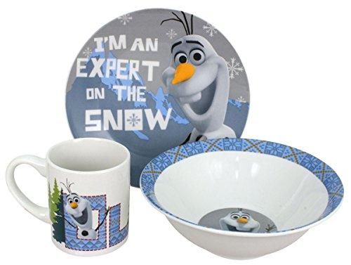 Disney Frozen Snow Expert Dinnerware Set, Olaf, 3-Piece]()