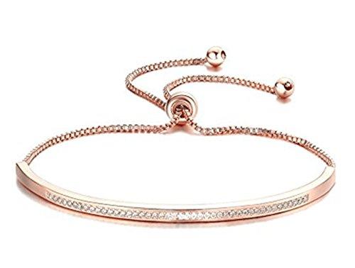 Adjustable Sterling Silver/Gold Bar Bangle Bracelet Cubic Zirconia Paved - A Little Bangle of The Women Fashion Jewelry - Chloe Sterling Silver Bracelet