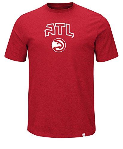 NBA Atlanta Hawks Men's Established Position Short Sleeve Crew-Neck Tee, Large, Athletic Red/Pepper Heather
