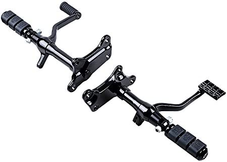Black Forward Controls Foot Pegs Levers Linkage Kit Compatible with Harley Sportster XL883 XL1200 1991-2003