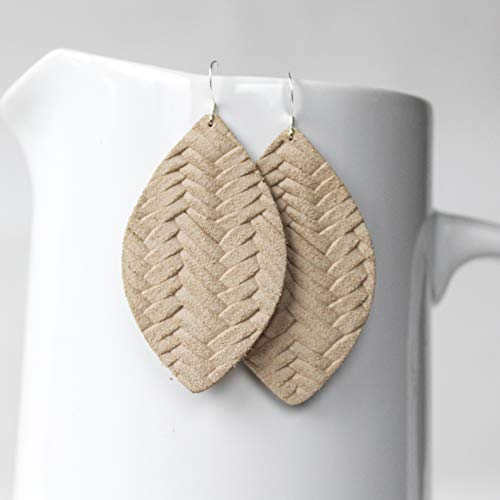 - Genuine Leather & Sterling Silver Petal Earrings // Desert Tan Braided Leather // Joanna Gaines Inspired // Lightweight Statement Earrings