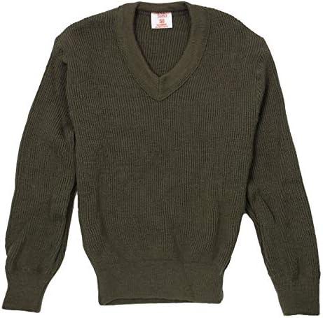 フランス、ブラウン、Vネックセーター(S37NA)バッジ付