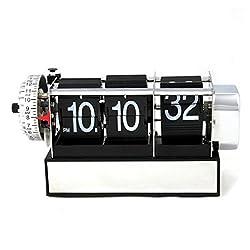 GAOHL Retro Auto Flip Single Stand Metal Desk Table Clock