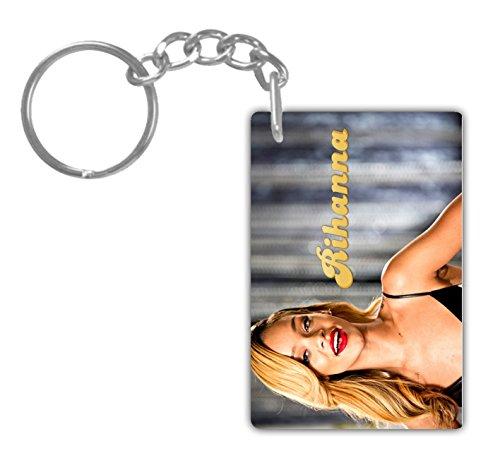 RIHANNA#7 Aluminum Rectangle plate Keychain (1-Sided) Includes key - Rihanna Chains