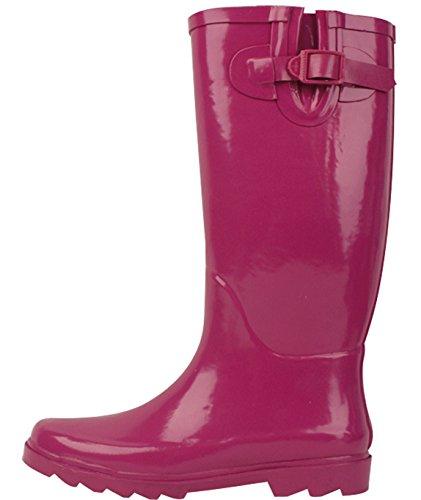 de Women's Fashion Brand Boots Rubber pluie Fuchsia Bottes Rain New FanZW6