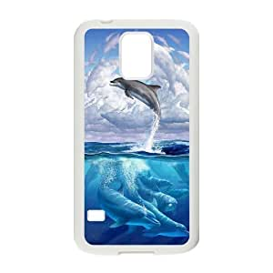 Custom New Cover Case for SamSung Galaxy S5 I9600, Dolphins Phone Case - HL-R679774