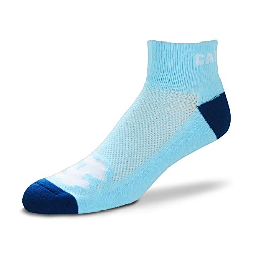 For Bare Feet NCAA Men's Cuff Team Logo Quarter-Length Socks-North Carolina Tar - Logo Sock Quarter Sport