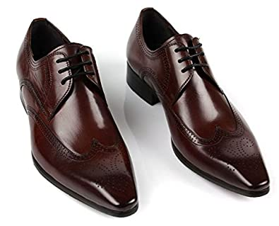 Jsix Business Mens Real Leather Dress Shoes Formal Lace Up Wing Tip Brogues