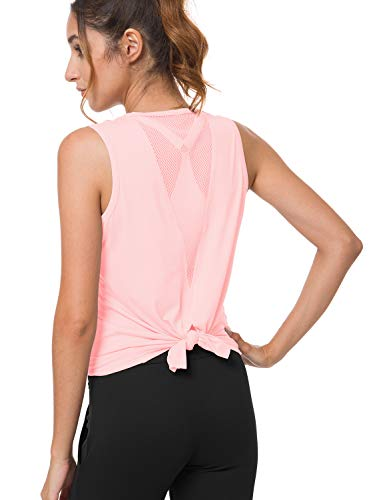 (Bamans Women's Yoga Tops Sexy Open Back Workout Cloth Muscle Running Tank Casual Beach Gym Sports Shirt Pink Large)