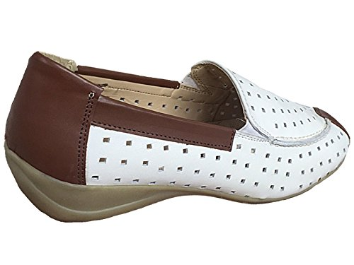 Casual 3 Cut Summer Slip BWN Foster On Ladies Flat Laser Footwear Moccasin 8 Shoe Size Sandal Loafer WHT xq60ACw