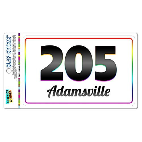 Area Code Rainbow Window Laminated Sticker 205 Alabama AL Abernant - Empire - Adamsville