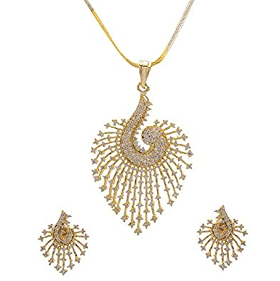 Buy YouBella Jewellery CZ Designer Peacock Pendant Neckalce Set with